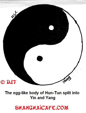 Hun-Tun's egg-like body became Yin and Yang.